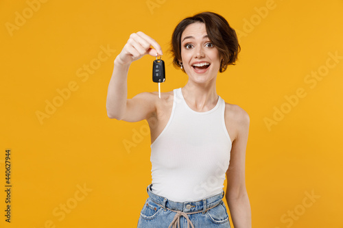 Canvas Young happy surprised excited fun woman with bob haircut in white tank top shirt