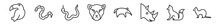 Outline Set Of Animals Line Icons. Linear Vector Icons Such As Big Toucan, Copperhead, Cottonmouth, Puma, Anteater, Weasel. Vector Illustration.
