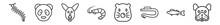 Outline Set Of Animals Line Icons. Linear Vector Icons Such As Centipede, Panda Bear, Kangaroo, Shrimp, Mole, Bulldog. Vector Illustration.