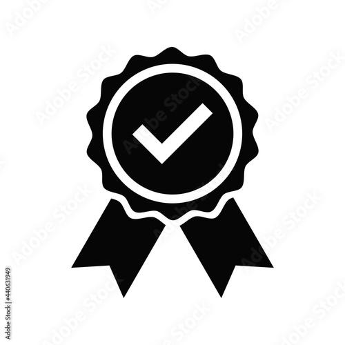 Fototapeta Quality Badge Icon Design. Medal and Ribbon Vector Illustration.