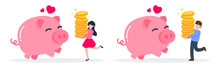 Man And Woman Carrying A Stack Of Golden Money Coins To Happy Pink Piggy Bank. The Creative Financial Concept Of Savings. Simple Trendy Cute Cartoon Vector Illustration. Flat Style Graphic Design.
