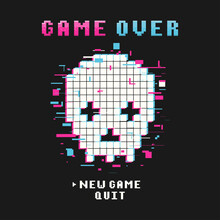 Gamers T-shirt Design With Glitch Pixel Skull And Pixel Text And Slogan. Typography Graphics For Tee Shirt With Pixelated Glitchy Skull. Slogan Print For Video Game Concept. Vector Illustration.