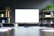 Leinwandbild Motiv Meeting conference room with blank empty mockup tv screen monitor for advertising standing in modern contemporary office on black wall background. No people. Business technologies concept.