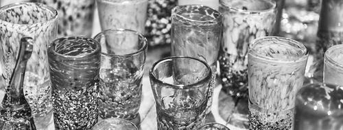 Fotografie, Obraz Traditional colorful murano glass goblets  for sale, Murano, Venice, Italy