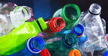 Empty Colored Carbonated Drink Bottles. Plastic Waste