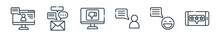 Outline Set Of Chatting And Communication Line Icons. Linear Vector Icons Such As Computer, Message, Bad Review, Conversation, Good Feedback, Good Review. Vector Illustration.