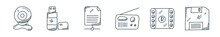 Outline Set Of Technology Line Icons. Linear Vector Icons Such As Web Camera, Usb, Sha, Radio, Film Strip, Floppy Disc. Vector Illustration.
