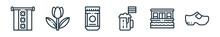 Outline Set Of Holland Line Icons. Linear Vector Icons Such As Amsterdam, Tulip, Speculoos, Beer, Houseboat, Clogs. Vector Illustration.