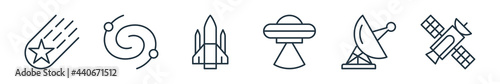 Photo outline set of space line icons