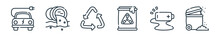 Outline Set Of Climate Change Line Icons. Linear Vector Icons Such As Electric Car, Water Pollution, Recycle, Nuclear, Battery, Trash. Vector Illustration.
