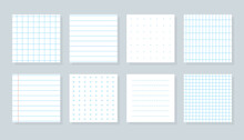 Set Of Flat Different Paper Sheet. Squared Templates Checkered Or Line Sheet. Copybook Cover Sheet With Blue Lined, Cross, Dotted And Grid Patterns. School Notebook Paper. Isolated Vector Illustration