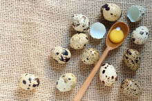 Quail Eggs And Wooden Spoon