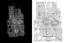 Minneapolis (Minnesota, United States) Street Map City Centre For Poster. High Printable Detail Travel Vector Map Template With Water Objects, Roads, Railways.