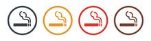 Smoking Area Icon Set. Vector Illustration