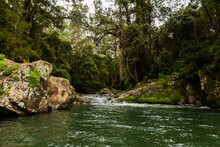 Boulders And Pool Of Water Along River In Green Forest