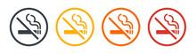 No Smoking Vector Icon. Cigarette Smoke Forbidden, No Smoking Area Warning Sign. Head With Cigarette.