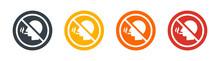 Non Smoking Sign Icon Vector Illustration. Head With Cigarette Symbol.