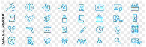 Fototapeta Lawyer and justice icons set vector