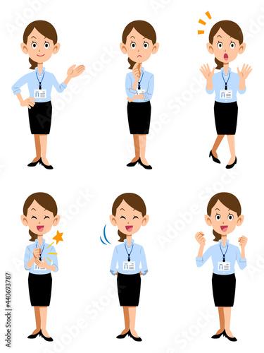 Fotografie, Obraz 社員証を付けた夏のオフィスで働く女性、6種類の仕草と表情