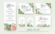 Wedding Floral Invite Thank You, Rsvp Label Cards Design: Lavender Pink Violet Garden Rose, Green Tropical Palm Leaf Greenery Eucalyptus Branches Decoration. Vector Elegant Watercolor Rustic Template