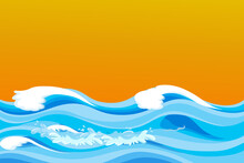 Abstract Of Ocean Waves On Yellow Background