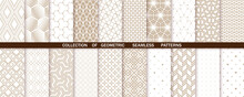 Geometric Set Of Seamless Beige And White Patterns. Simple Vector Graphics