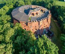 St. Benedict Fort 31 In Podgorze District In Krakow, Poland. Built 1853–1856. Surrounded By Trees, Presently Under Renovation. Aerial View