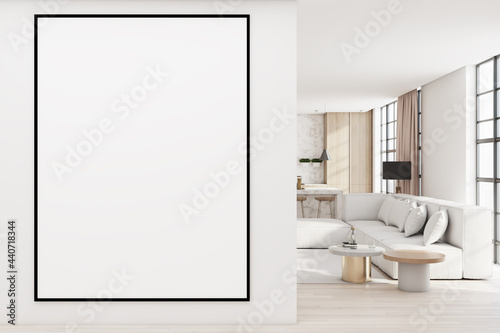 Modern living room interior with comfortable couch, city view with daylight and blank poster on concrete wall. Mock up, 3D Rendering.