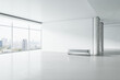 Leinwandbild Motiv Modern white concrete gallery interior with panoramic window city view, empty mockup place for your advertisement and seat. Mock up, 3D Rendering.