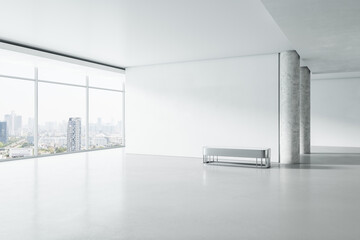 Modern white concrete gallery interior with panoramic window city view, empty mockup place for your advertisement and seat. Mock up, 3D Rendering.