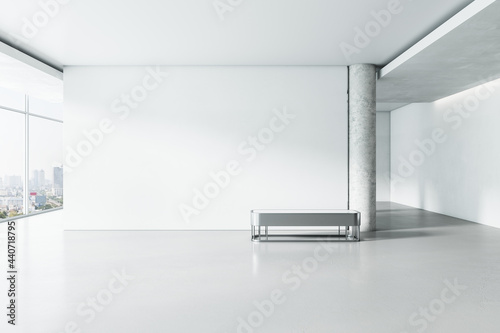 Light white concrete gallery interior with panoramic window city view, empty mockup place for your advertisement and seat Fotobehang