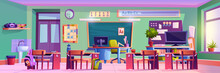 Empty Classroom In Elementary School, Interior Of Room With Chalkboard, Desks With Personal Belongings Of Pupils And Working Space Of Teacher. Modern Class Education. Cartoon Vector In Flat Style