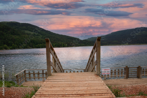 Fototapeta Bolu, wonderful lake view from the wooden observation deck by Abant Lake