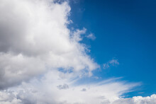 White Clouds. Perfect Blue Sky.cirrus Clouds Formation With Blue Heaven Background.