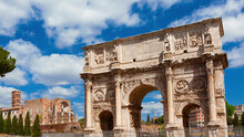 Arch Of Constantine And Temple Of Venus Ancient Ruins In The Center Of Rome