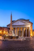 Pantheon And Fontana Del Pantheon At The Piazza Della Rotonda