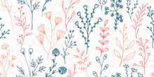 Field Flower Sprigs Natural Vector Seamless Pattern. Creative Floral Textile Print. Meadow Plants Leaves And Stems Wallpaper. Field Flower Branches Girly Fashion Repeating Swatch