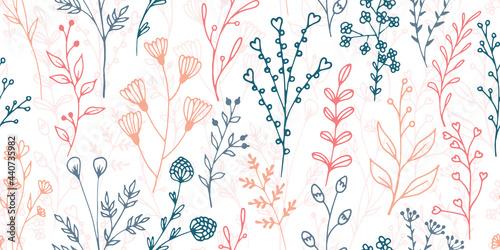 Fotografija Field flower sprigs natural vector seamless pattern