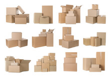 Set With Different Cardboard Boxes On White Background