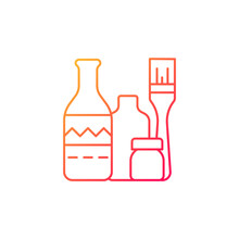 Bottle Painting Gradient Linear Vector Icon. Home Decor. Repurposed Wine Bottles. Flower Homemade Vases. Thin Line Color Symbols. Modern Style Pictogram. Vector Isolated Outline Drawing