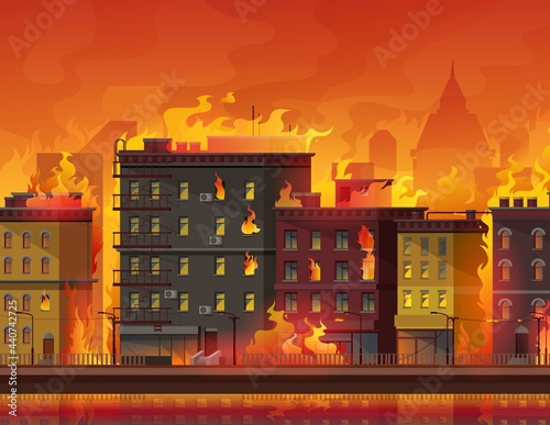 Photo Fire in city, burning buildings on town street
