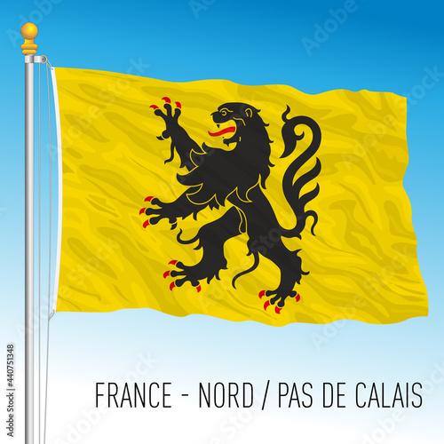 Fototapeta North - Pas de Calais regional flag, France, European Union, vector illustration