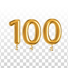 Vector Realistic Isolated Golden Balloon Number Of 100 For Invitation Decoration On The Transparent Background.