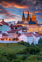 Prague Skyline. Aerial Cityscape Image Of Prague, Capital City Of Czech Republic With St. Vitus Cathedral At Summer Sunset.