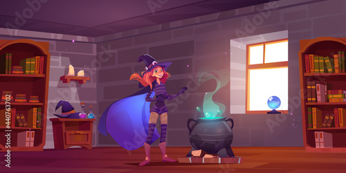 Fotografie, Tablou Witch cooking potion in magic school, cute enchantress fantasy character in hat,