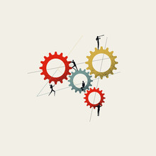 Business Team And Teamwork Vector Concept. Symbol Of Cooperation, Process, Solution. Minimal Illustration.