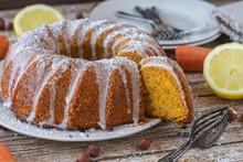 Juicy Hazelnut Carrot Bundt Cake On Rustic Table Background