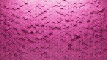 Futuristic Tiles Arranged To Create A Semigloss Wall. 3D, Hexagonal Background Formed From Pink Blocks. 3D Render