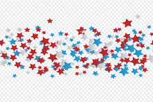 4th Of July American Independence Day Backdrop With Stars Scattered  On Transparent Background. Vector Illustration.