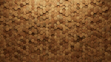 Wood Tiles Arranged To Create A Natural Wall. Soft Sheen, Hexagonal Background Formed From 3D Blocks. 3D Render